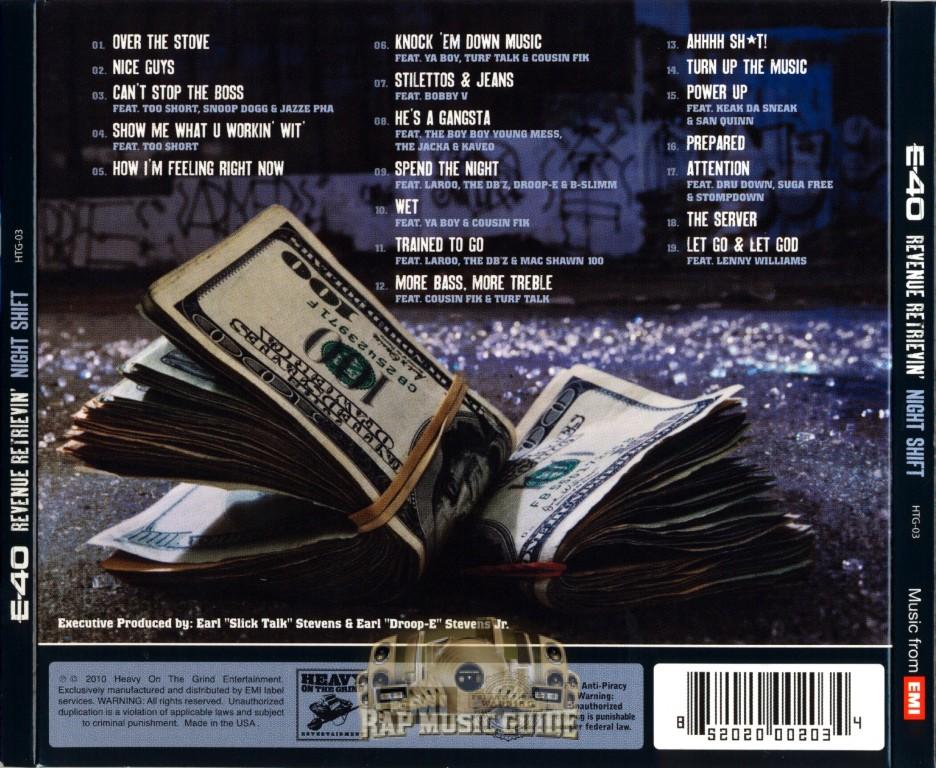 E-40 - revenue retrievin: overtime shift  graveyard shift (album cover