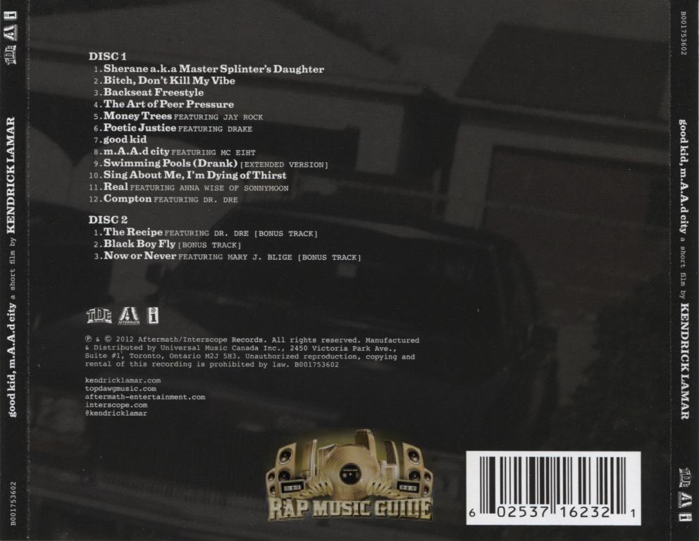Kendrick Lamar Good Kid M A A D City Deluxe Edition