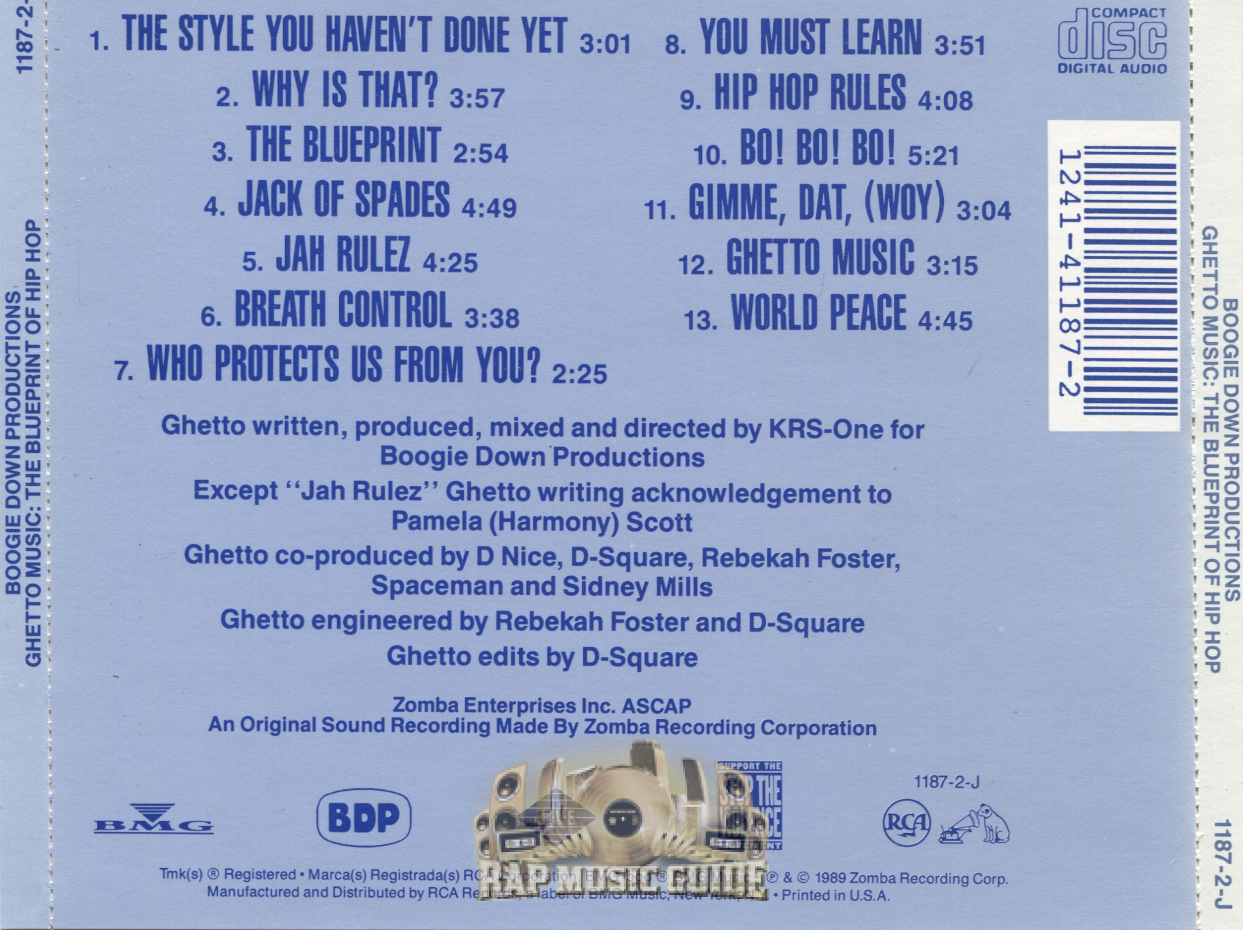 Boogie down productions ghetto music the blueprint of hip hop additional artwork malvernweather Images