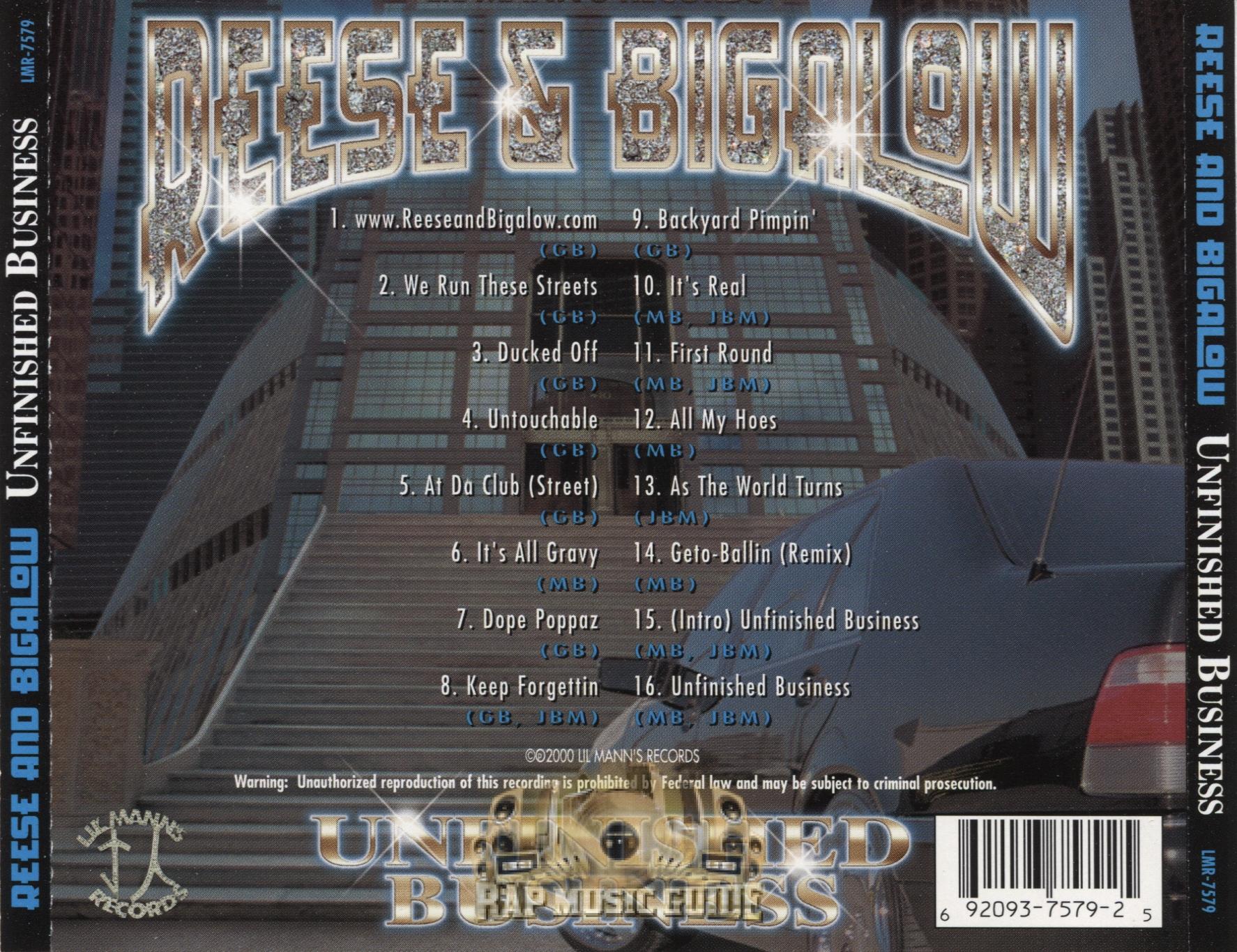 reese u0026 bigelow unfinished business cd rap music guide