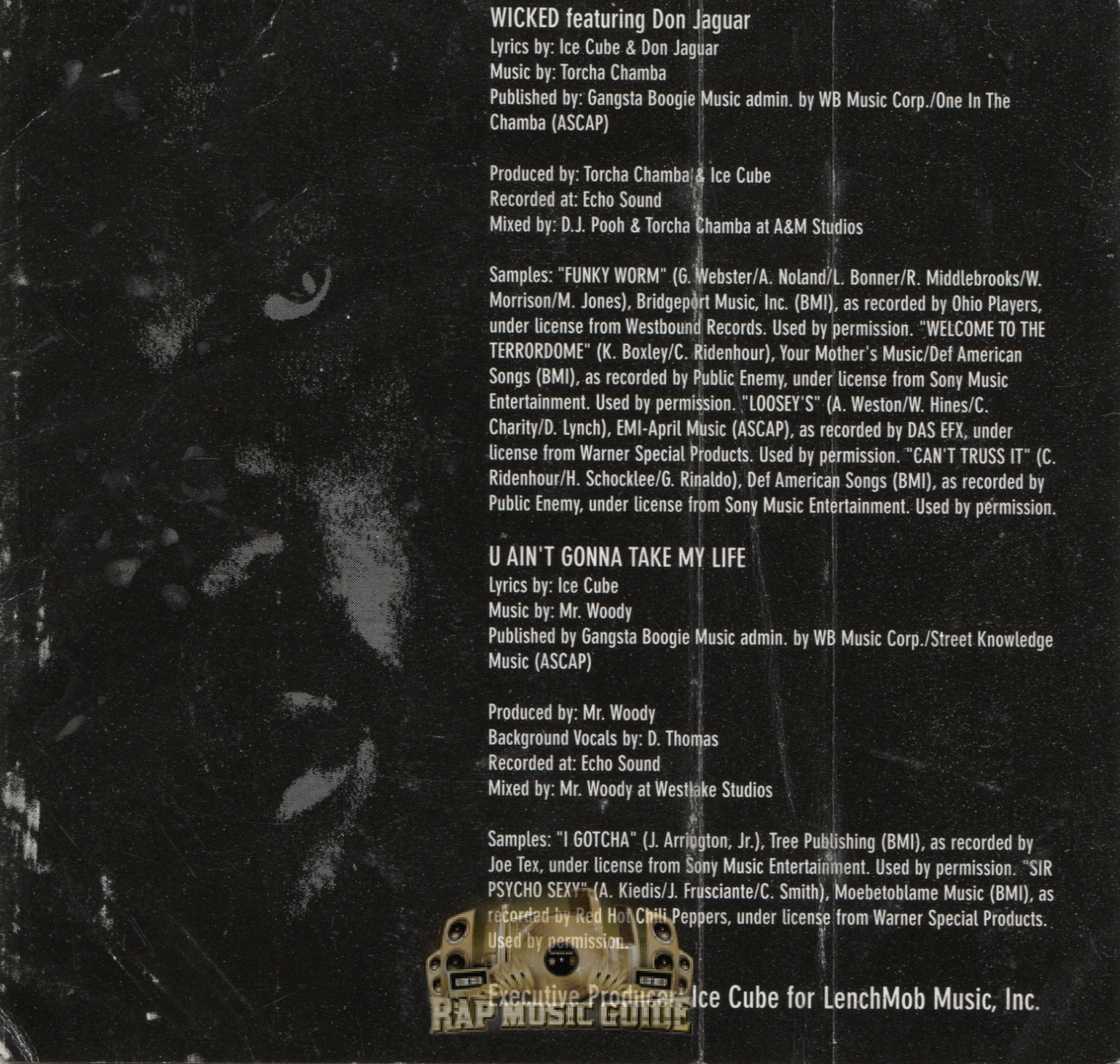 Ice Cube Song List Complete ice cube - wicked / u ain't gonna take my life: cassette tape