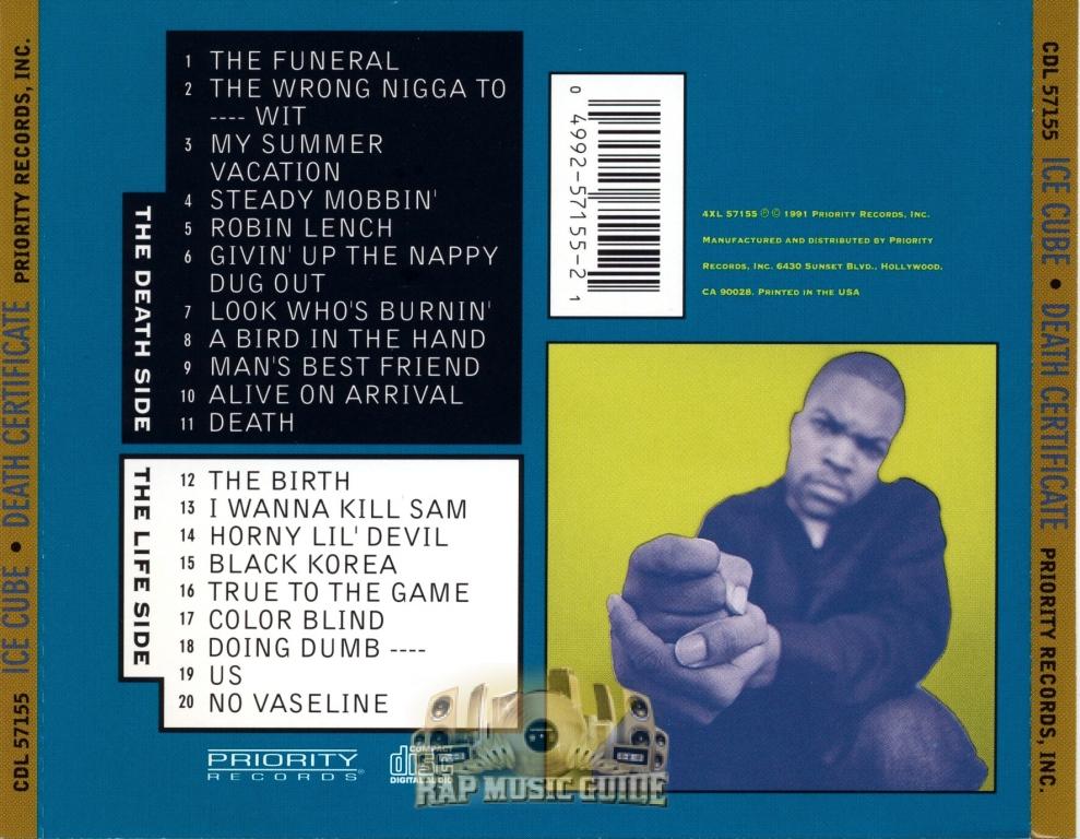 Ice Cube Death Certificate 1st Press Cd Rap Music Guide