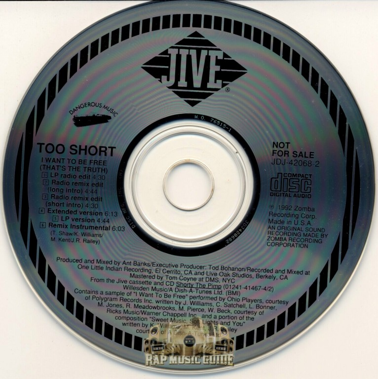 Too Short - I Want To Be Free (That's The Truth): Promo, Single  CD