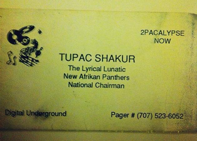 Tupac Shakur business card