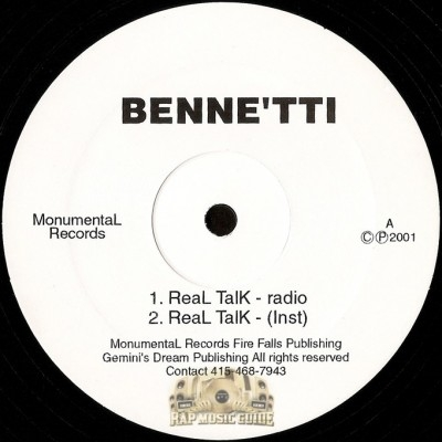 Benne'tti - Real Talk / Mystical Love / Chips N Dip